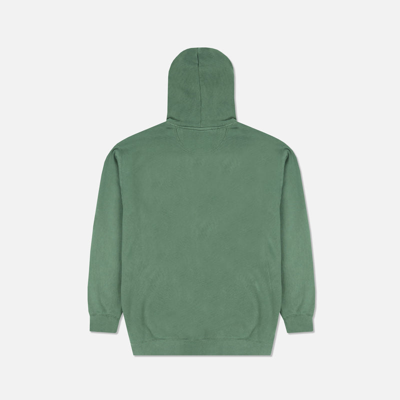Family Print Pigment Wash Hoodie in Spruce