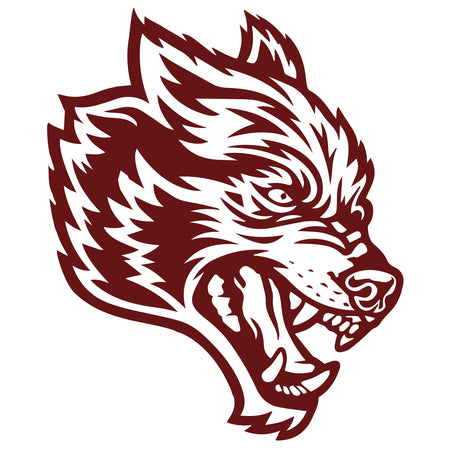 Wolves Decal Sticker In Maroon