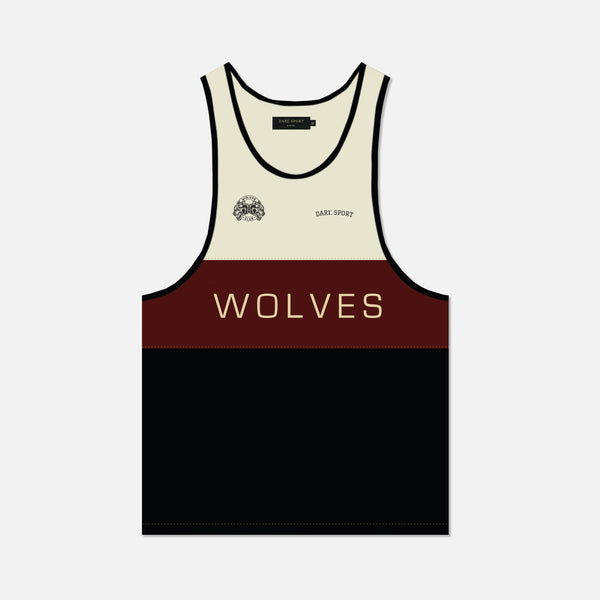 Venice Tank in Cream/Maroon/Black
