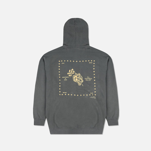 Till The Wheels Fall Off Pigment Wash Hoodie in Pepper