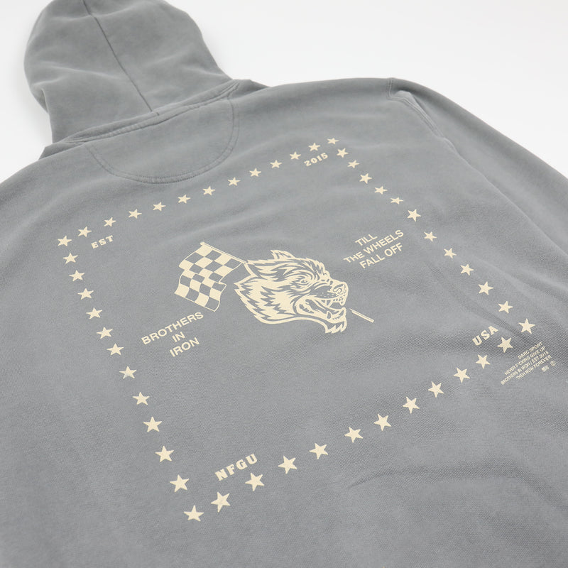 Till The Wheels Fall Off Pigment Wash Hoodie in Light Grey