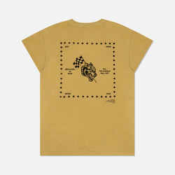 Till The Wheels Fall Off Cap Sleeve Tee in Pigment Yellow