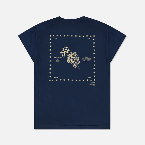 Till The Wheels Fall Off Cap Sleeve Tee in Pigment Navy