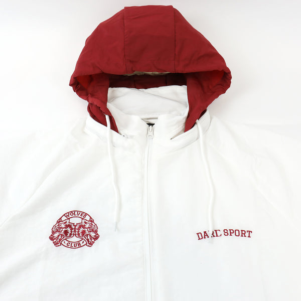 Fasted Windbreaker Jacket in White/Maroon