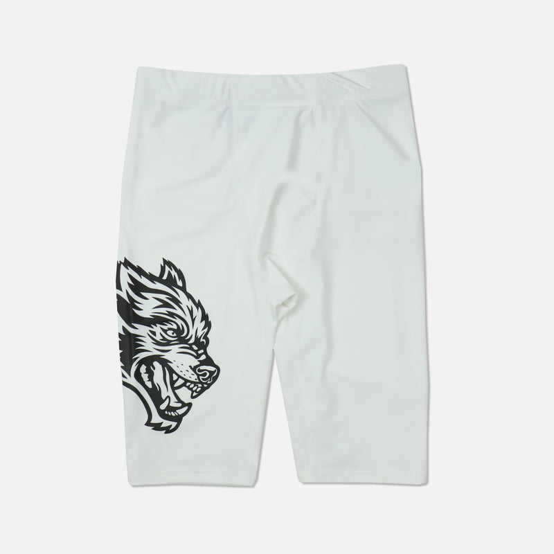 Wolf Spandex Training Shorts in White