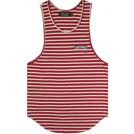 Yates Stripe Patch Drop Tank In Cream/Maroon