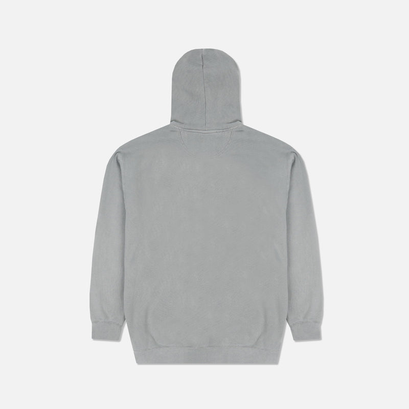 Family Print Pigment Wash Hoodie in Gray