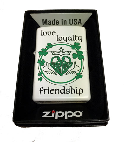 Zippo Custom Lighter - Claddagh Love Loyalty Friendship Heart - Regular White Matte 214CI014120