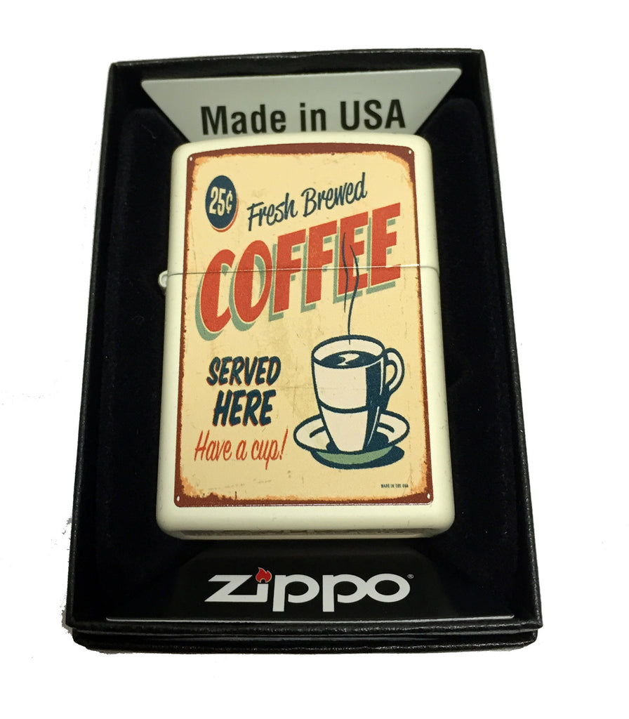 Zippo Custom Lighter - 1950's Vintage Coffee Poster - Regular Cream Matte 216CI012176
