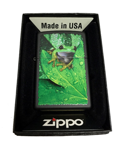 Zippo Custom Lighter - Peeking Frog on Leaves - Regular Black Matte 218CI011353