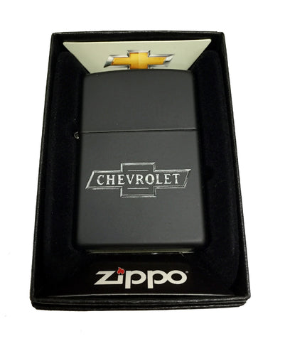 Zippo Custom Lighter - Chevy Chevrolet Bowtie Logo - Regular Black Matte 218CI016223