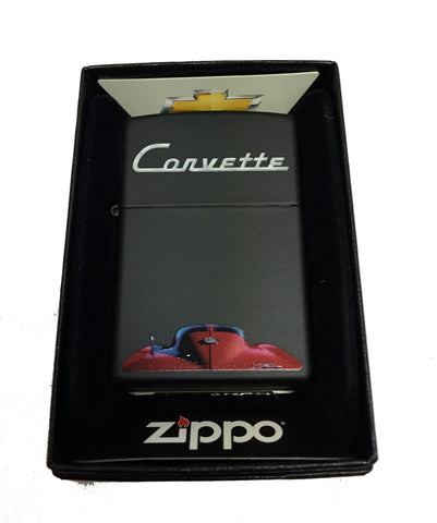 Zippo Custom Lighter - Chevy Chevrolet Corvette Hood of Vehicle - Regular Black Matte 218CI017174