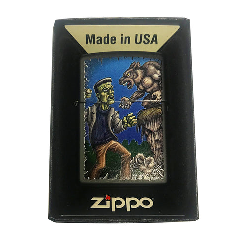 Zippo Custom Lighter - Frankenstein Fighting Werewolf Halloween Epic Battle Scene - Black Matte