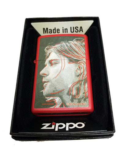 Zippo Custom Lighter - Kurt Cobain Grunge Illustration Portrait - Regular Red Matte 233CI018340