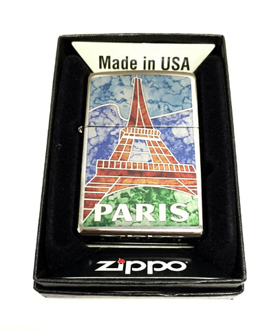Zippo Custom Lighter - Paris France Eiffel Tower Fuzion Mosaic - Regular High Polished Chrome 250ZF400023
