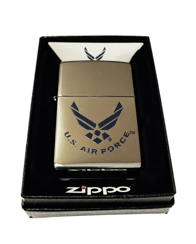 Zippo Custom Lighter - Blue U.S. Air Force Wings Primary Logo - High Polish Chrome  ZP - AH - 250 US AIR FORCE