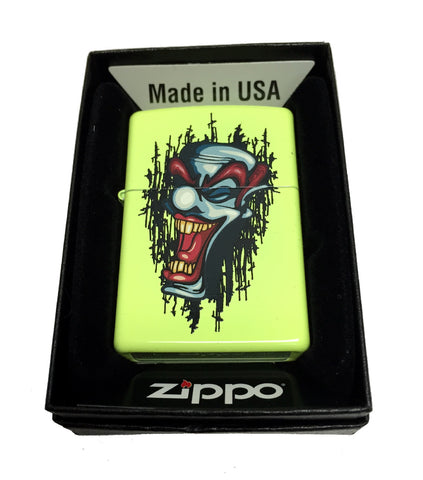 Zippo Custom Lighter - Laughing Clown Tattoo - Regular Neon Yellow 28887CI401825