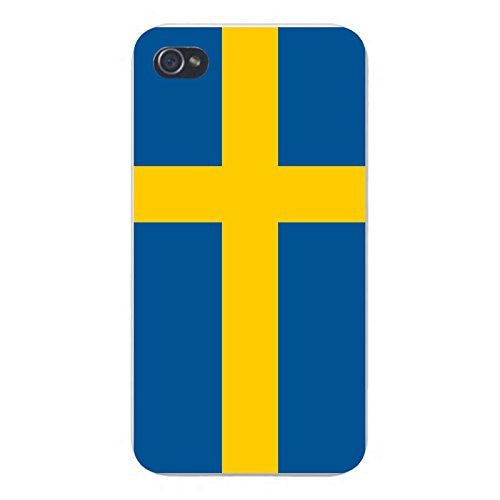 Apple iPhone Custom Case 4 4S White Plastic Snap On - World Country National Flags - Sweden
