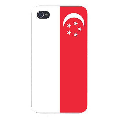 Apple iPhone Custom Case 5 / 5S White Plastic Snap On - World Country National Flags - Singapore