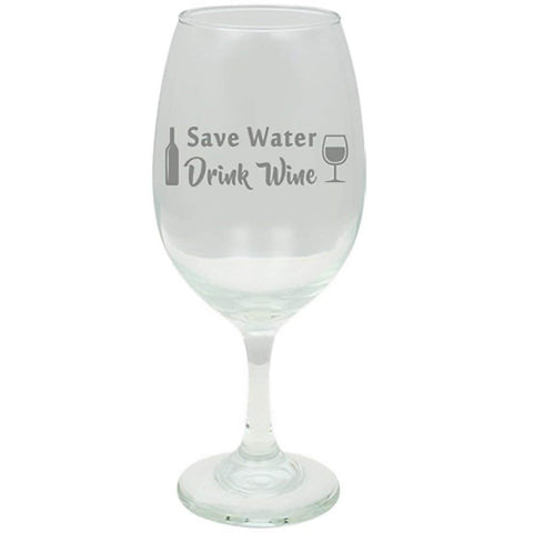 """Save Water, Drink Wine"" Laser Engraved 20 oz Wine Glass - Couples Gifts - Engagement Gift - Original Wedding Gifts - Custom Wedding"