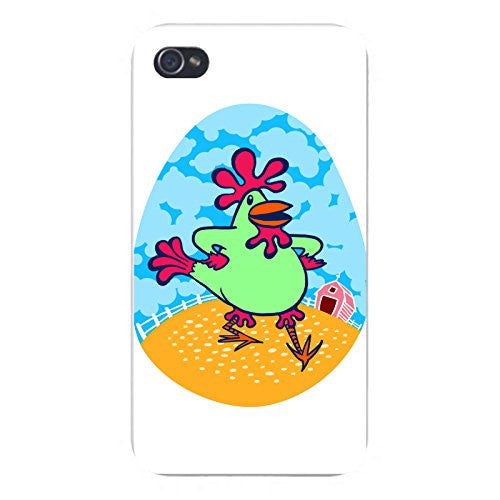 Apple iPhone Custom Case 4 4S White Plastic Snap On - 'Funky Dancin' Chicken' Funny Farm Animal
