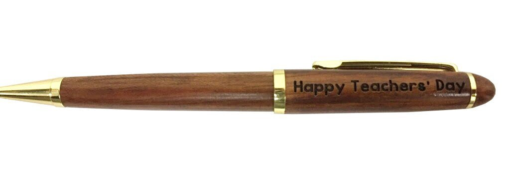 """Happy Teacher's Day"" Rosewood Classic Twist Ballpoint Pen - Laser Engraved Cute Appreciation Gift (Rosewood)"