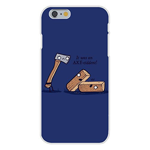 Apple iPhone 6 Custom Case White Plastic Snap On - 'Axeciddent' Pun Humor Cartoon Axe & Wood