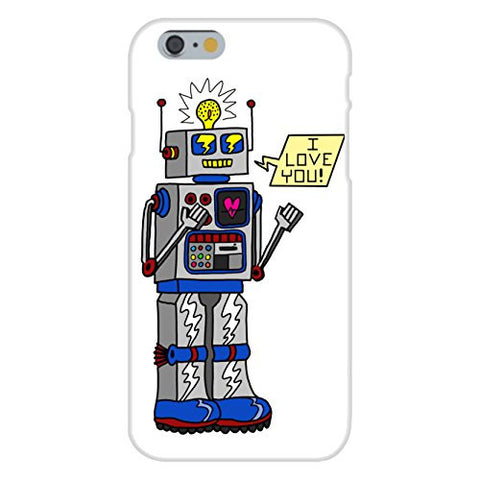 Apple iPhone 6 Custom Case White Plastic Snap On - '80's Love Robot' Funny Cute Vintage Robot w/ Feelings