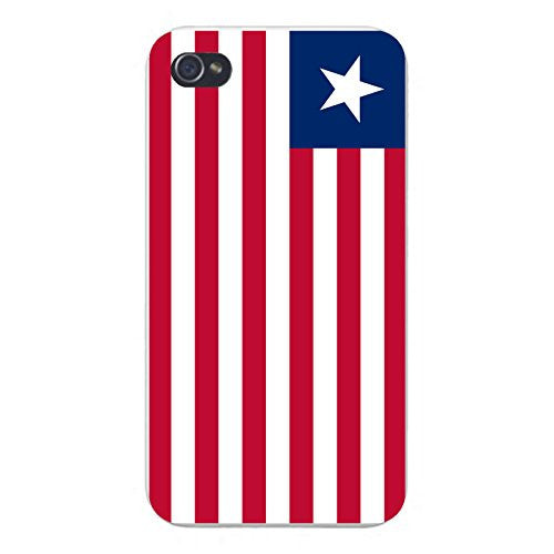 Apple iPhone Custom Case 5 / 5S White Plastic Snap On - World Country National Flags - Liberia