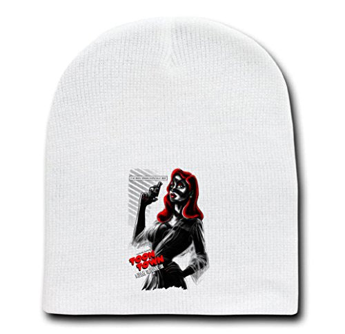 White Adult Beanie Skull Cap Hat - A Dame To Frame For - Parody Design