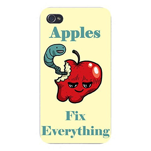 Apple iPhone Custom Case 4 4S White Plastic Snap On - 'Apples Fix Everything' Food Humor Cartoon