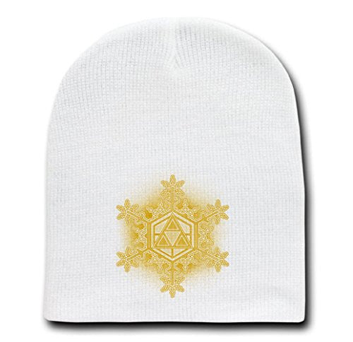 White Adult Beanie Skull Cap Hat - Triforce Snowflake - Parody Design