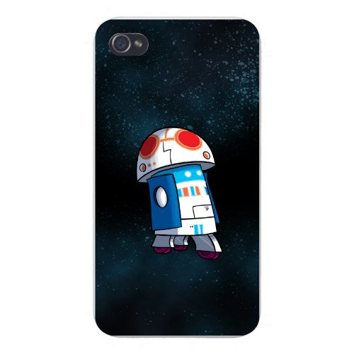 Apple iPhone Custom Case 5 / 5S White Plastic Snap On - 'Plumbing Wars' Rolling Beeping Robot Character Funny Video Game & Space Movie Parody