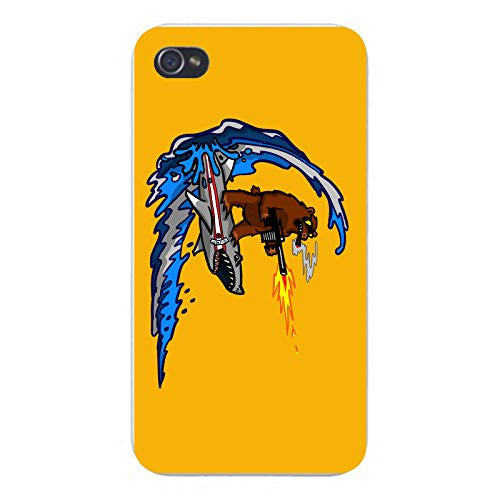 Apple iPhone Custom Case 4 4S White Plastic Snap On - 'Shark Surfin Bear' Funny Surfing Animals Humor
