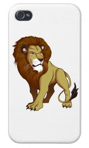 Apple iPhone Custom Case 5 / 5S White Plastic Snap On - 'Lion' Big Cat Standing On Light Background