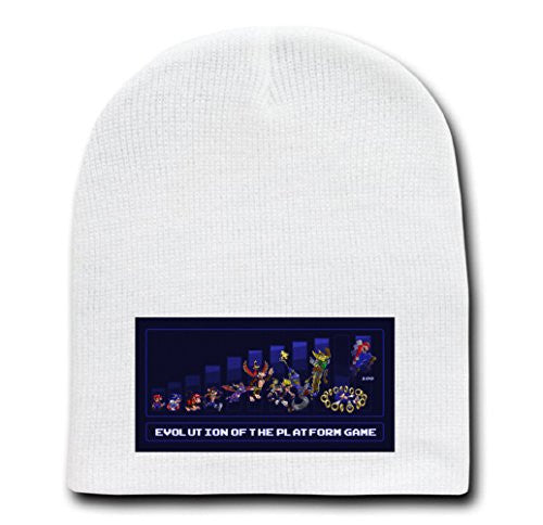 White Adult Beanie Skull Cap Hat - Evolution of Platformers - Parody Design