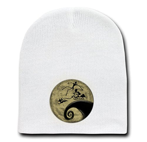 White Adult Beanie Skull Cap Hat - The Nightmare Before Grinchmas - Parody Design
