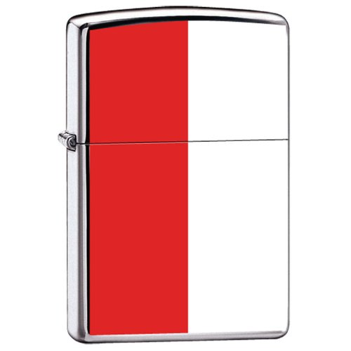 Zippo Custom Lighter Poland Flag High Polish Chrome Finish