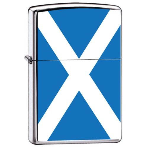 Zippo Custom Lighter Scotland Flag High Polish Chrome Finish