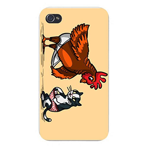 Apple iPhone Custom Case 4 4S White Plastic Snap On - 'In Your Shorts' Funny Rooster & Kitty Cat Humor