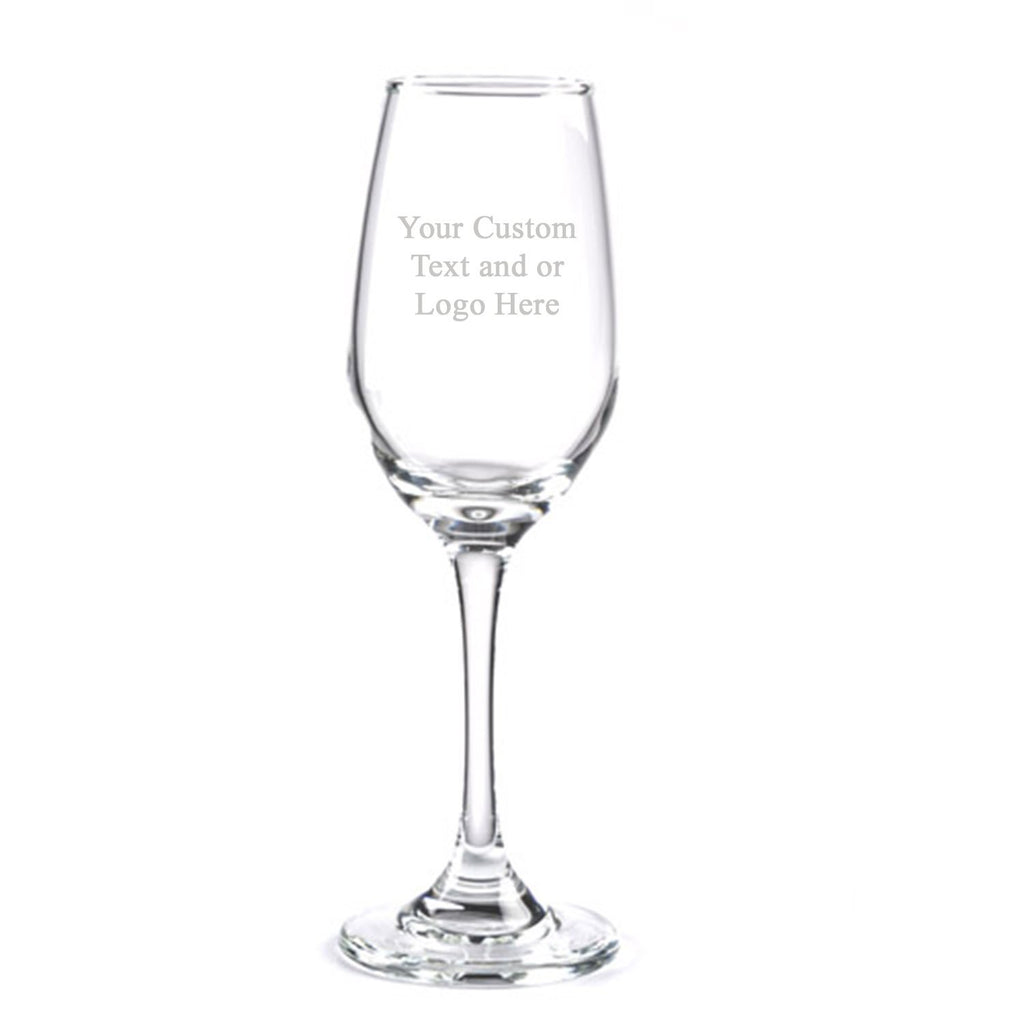 ANY TEXT, Custom Customized Engraved Flute Champagne Glass Glasses, 6.25 oz Stem - Personalized Laser Engraved Text Customizable Gift