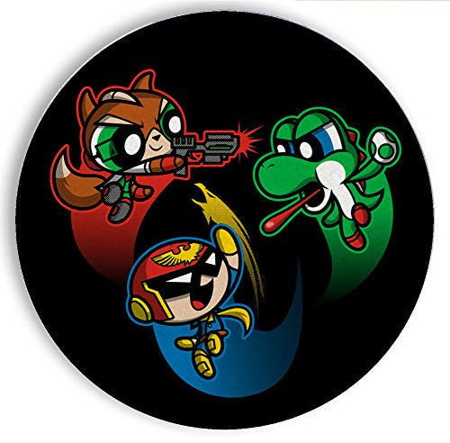 Ceramic Stone Coaster Coasters Set of Four - Super Puff Bros 2 - Parody Design