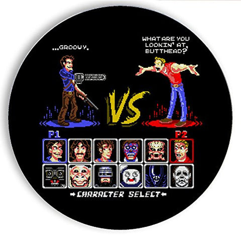 Ceramic Stone Coaster Coasters Set of Four - Super 80's Good Vs. Evil 2 - Parody Design