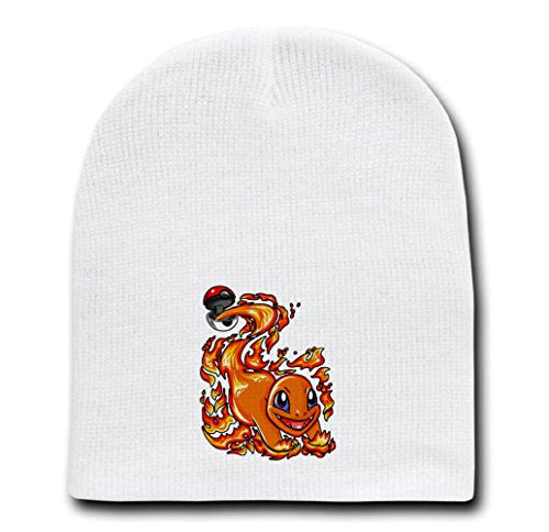White Adult Beanie Skull Cap Hat - Ball of Fire - Parody Design