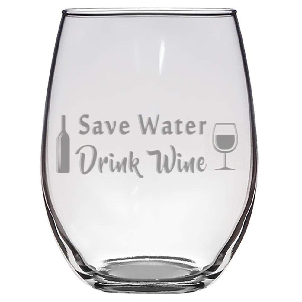 """Save Water, Drink Wine"" Laser Engraved Stemless Wine Glass"
