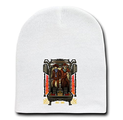 White Adult Beanie Skull Cap Hat - Friends In Time III - Parody Design