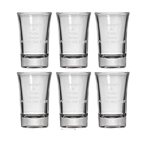 Personalized Set of 6 Shot Glasses (1.5oz) Free Engraving Groomsman and Bridesmaid Gift