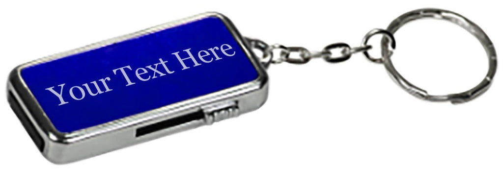 Blue Customized 3D Laser Engraved Personalized 8 GB Metal Custom USB Flash Drive with Keychain