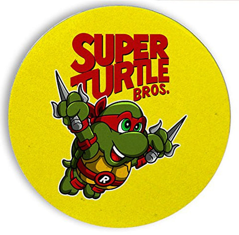 Ceramic Stone Coaster Coasters Set of Four - Super Turtle Bros Raph - Parody Design