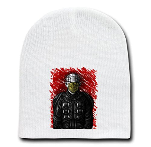White Adult Beanie Skull Cap Hat - Son of Hell - Parody Design